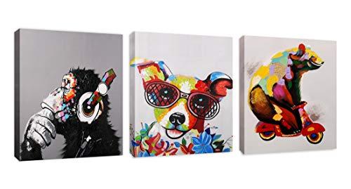(Modern Pop Art Decor - Framed (3 Pack) - Bear on Motorcycle Thinking Monkey Happy Jack Russel Animal Art Canvas Print Home Decor)