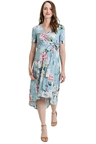 Hello MIZ Women's Floral High-Low Surplice Wrap Nursing and Maternity Dress (XL, Blue Flower) ()