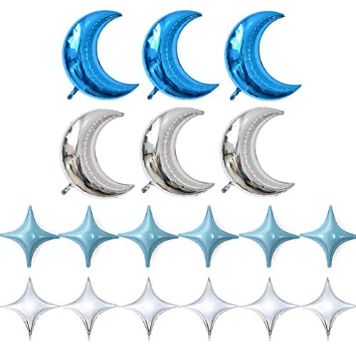 (KIYOOMY Crescent Moon Shaped Mylar Balloons 36 inch Moon and Star Party Balloons Pack of 18 for Birthday Party Anniversary Celebrate Parties Wedding Baby Shower Decorations (Moon and Four Star Blue))