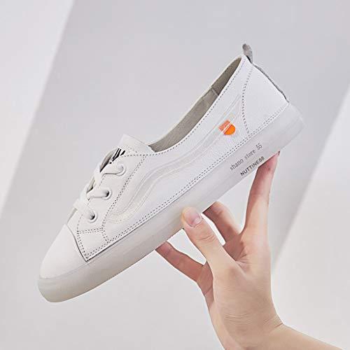 Zapatillas con de Casual Top Deporte Blanco Shoes de Fondo Lazy Low Transpirables Zapatos Plano 6A6rU