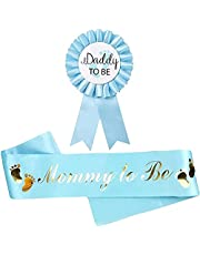 Blue Baby Shower Decorations Light Blue Sash for Mommy to be and one Daddy to Be Tinplate Badge, Kit Baby Shower Decorations Party Gender Reveals Party Gifts (Light Blue) Welcome Baby