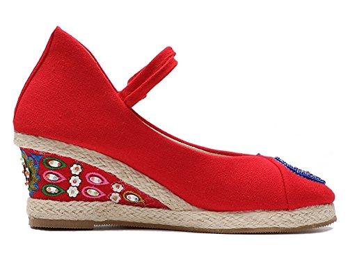 Femmes Sandales et Pour Chinois Chaussures Femmes 2018 HUAN Brodé Rouge Chaussures Paon Dames wZgEvxnq