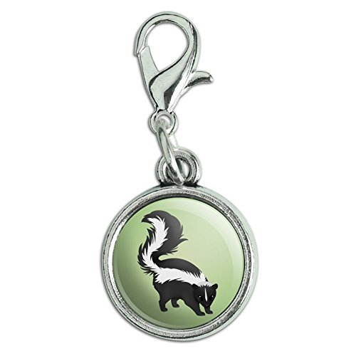 Graphics and More Skunk Posing Antiqued Bracelet Pendant Zipper Pull Charm with Lobster (Skunk Charm)