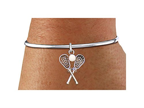 ''Add A Charm Later By Yourself'' Lacrosse With Rubber Ball Bracelet by Lonestar Jewelry