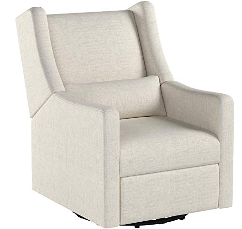 Babyletto Kiwi Electronic Power Recliner and Swivel Glider with USB Port, White Linen