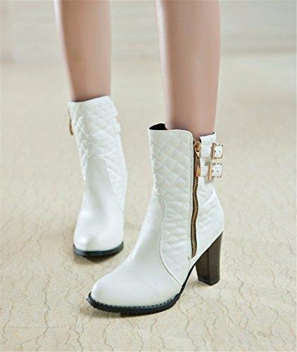 e Moda botas botas high otoño White de lattice señoras heels invierno RrwrExPq