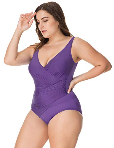 866a3ccf11 DELIMIRA Women s Plus Size Solid V-Neck Slimming Swimsuit One Piece Bathing  Suit