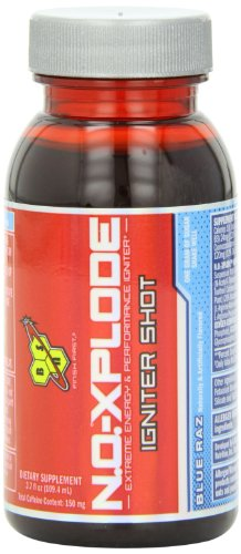 BSN N.O.-XPLODE IGNITER SHOT  - Blue Raz, 3.7 fl oz, (Pack of 12 ) by BSN
