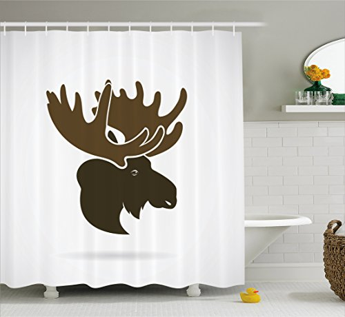 Moose Decor Shower Curtain by Ambesonne, Deer Head Canadian Sacred Northern Wilderness Mammals Hunting Graphic Print, Fabric Bathroom Decor Set with Hooks, 70 Inches, Brown White (Hunting Decor For Kids Room)