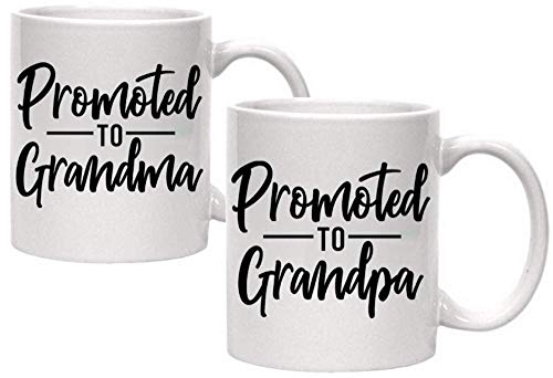 Pregnancy Announcement For Grandparents Coffee Mugs - Grandma To Be & Grandpa to Be 11 oz Mugs - Great Pregnancy Reveal Idea For Your Baby Announcement - Mug Set Quote - Promoted to Grandma & Grandpa