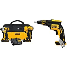 DEWALT DCF620B 20-Volt MAX XR Li-Ion Brushless Drywall Screw Gun Bare Tool & DEWALT 20-Volt Max Compact Lithium-Ion Cordless Combo Drill Kit
