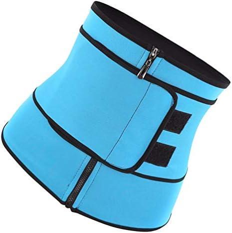 HEALLILY Neoprene Sweat Waist Trainer Yoga Sauna Corset Trimmer Belt Cincher Body Shaper Slimmer for Women Weight Loss Waist Blue (Size L) 3