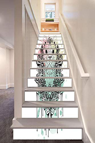anselc05ls Animal 3D Stair Riser Stickers Removable Wall Murals Stickers,French Bulldog with Floral Wreath on Brushstroke Watercolor Print,for Home Decor 39.3