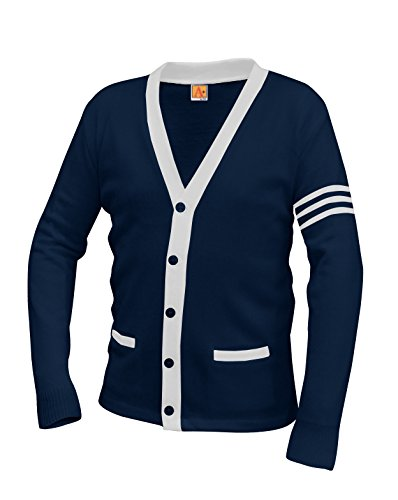 (Averill's Sharper Uniforms Unisex 5-Button V-Neck with Contrasting Trim Varsity Cardigan Medium Dark Navy/White Stripes )