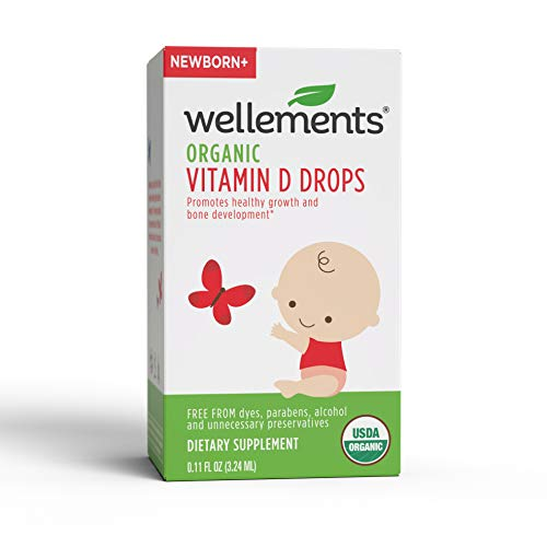 Wellements Organic Vitamin D Drops, 0.11 Fl oz, Free from Dyes, Parabens, Alcohol, and Preservatives