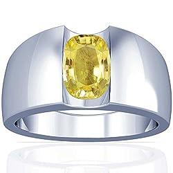 Platinum Cushion Cut Yellow Sapphire Men's Ring