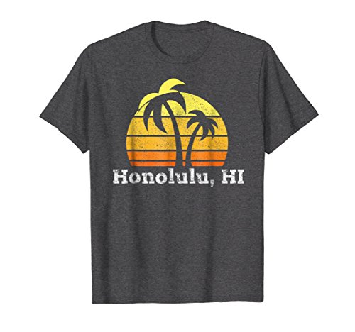 Mens Retro Honolulu T-shirt Hawaiian Beach Shirt 3XL Dark (Honolulu Hawaiian Shirt)