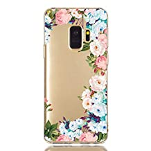 Ostop Samsung Galaxy S9 Case,Flower Floral Clear Design Soft Silicone Flexible Bumper Ultra Thin Cover Shock Absorption Shell for Teen Girls Samsung Galaxy S9,Colorful Rose