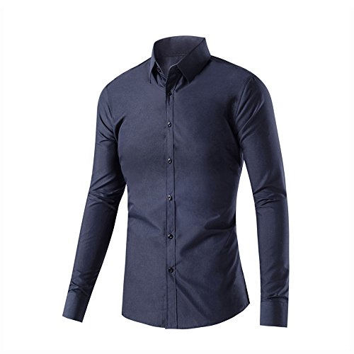 Men's Long Shirt Blue CHARM Collar Fitted Buttoned Solid Regular Button Fit Down Dark Sleeve WEEN Dress wRHq14