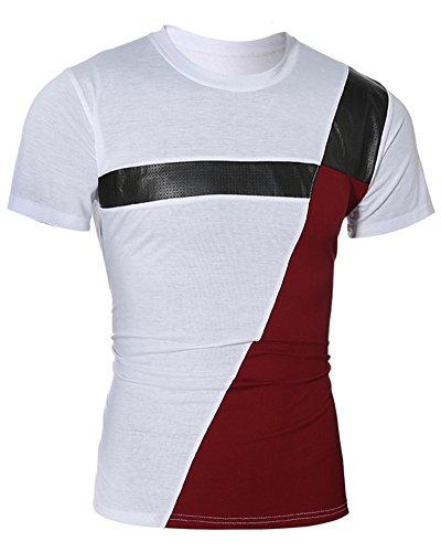 Tee Shirt Crew Neck, Camiseta de Manga Corta Para Hombre Blanco