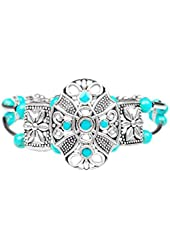 Miao Silver Turquoise Bead & Flower Shield Ceremony Band Bracelet