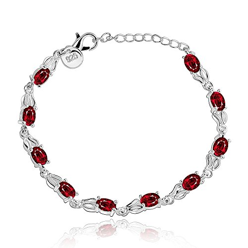 Stunning Solid 925 Silver Beautiful Red Diamond Fashion - Men 925 Silver Bracelet