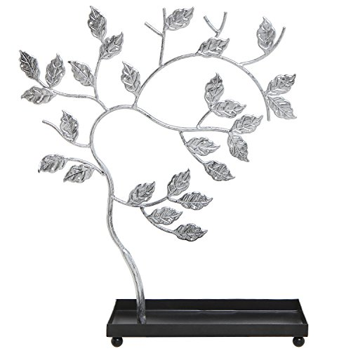 MyGift Silver-Tone Metal Jewelry Tree, Necklace, Bracelets & Earrings Hanger Display Stand Rack w/Ring Tray
