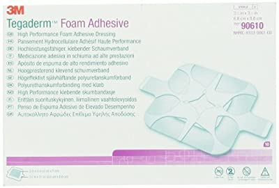 3M Tegaderm High Performance Foam Adhesive Dressing 90610, Square, 10 Pieces