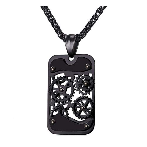 U7 Men Steampunk Jewelry Cool Black Gun Plated Gear Pendant Dog Tag Necklace, Free Chain 22 Inch