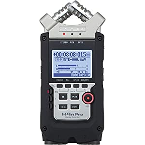 "Zoom H4n Pro 4-Track Portable Recorder, Stereo Microphones, 2 XLR/ ¼"" Combo Inputs, Guitar Inputs, Battery Powered, for…"