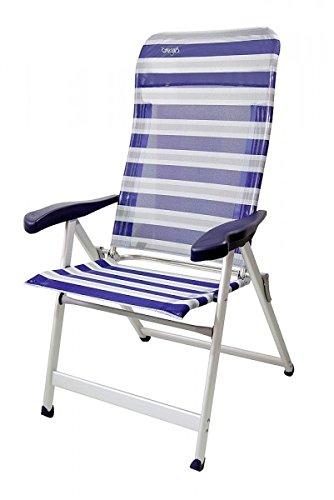 Avec repose-pieds rembourré cOMPaCT sTABIELO lUXUS chaise pliante à 7 positions-dossier-léger-poids : 6,7 kg-chaises de jardin en aluminium - 7 positions-sTABIELO exklusiv-fauteuil à haut dossier couleur-bleu-charge max. : 140