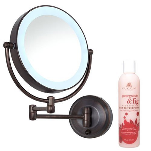Zadro Oil Rubbed Bronze LEDW810 LED Lighted Wall Mount Mirror and Cuccio Pomegranate Fig Body Butter Wash