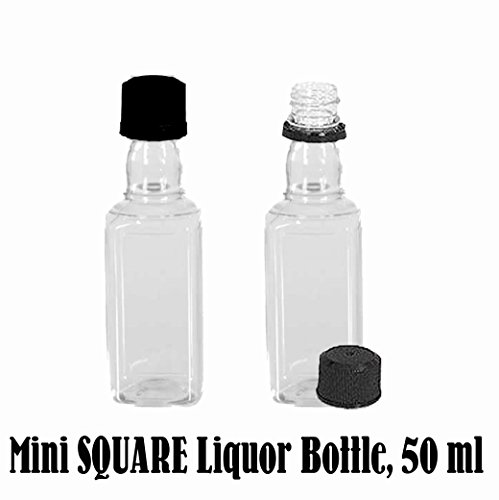 100 Mini SQUARE Plastic Alcohol 50ml Liquor Bottle Shots + Caps (100 Bulk) for party favors in Weddings, Anniversary, Events, holds BBQ Sauce Samples, Essential Oils, etc. Proudly Made in the USA! by Party Over Here (Image #1)