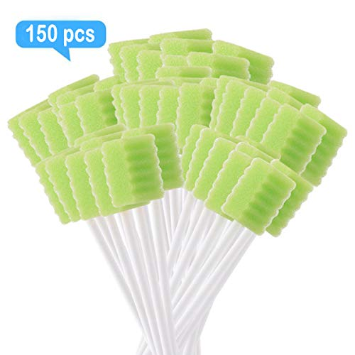 [Pack of 150] Green Oral Swab/Unflavored and Untreated Swabs/Disposable Sterile Mouth Swabs/Individually Wrapped Oral Swabs for Dental and Hygienic Purpose/Oral Care Swabs by JJ CARE
