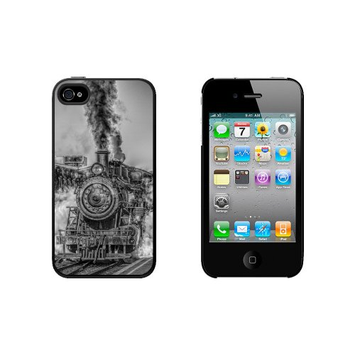 Steam Engine Locomotive Train Snap On Hard Protective Case for Apple iPhone 4 4S - Black (Locomotive Telephone)