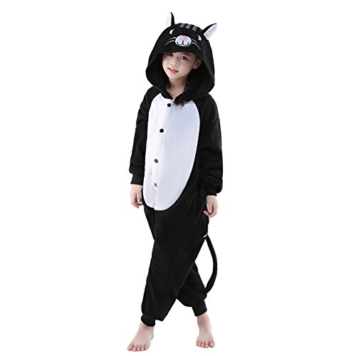 [Sunrise Childrens Pajamas Sleeping Wear Anime Cosplay Onesie Homewear (115#, Black Cat)] (Girl Anime Costumes)