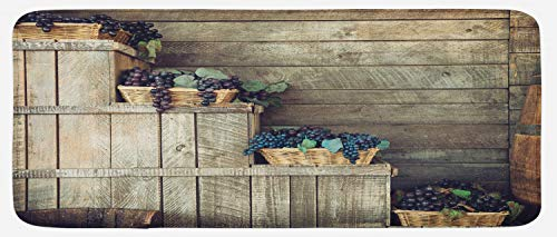 Ambesonne Vineyard Kitchen Mat, Various Grapes in Wooden Wicker Basket Ivy Viniculture Gourmet Organic Photo, Plush Decorative Kithcen Mat with Non Slip Backing, 47