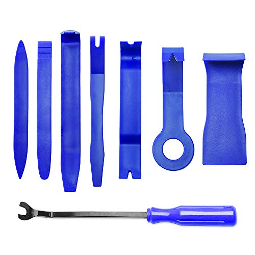 (MICTUNING 8PCS Auto Trim Removal Tool Set for Car Audio Dash Door Panel Window Molding Fastener Remover Tool Kit (Blue))
