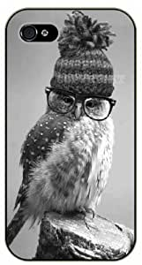 iPhone 4 / 4s Hipster owl with hat and glasses - black plastic case / Animals and Nature, owl, owls