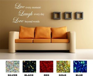 stickers4all live laugh love quote wall sticker sparkle vinyl blue