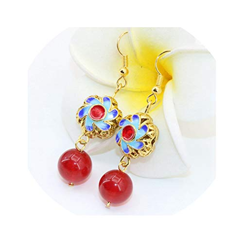 Fashion earring 8 style long drop dangle for women gold color cloisonne jades chalcedony pierced gift jewelry B2605,Rose Gold Color