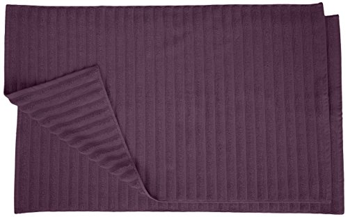 Superior Striped Bath Mat 2-Pack, 100% Combed Cotton, Luxury Spa Ribbed Texture, Durable and Washable Bathroom Mats - Eggplant, 22
