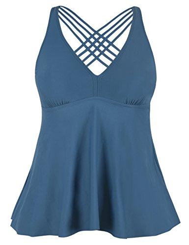 Firpearl Women's Tankini Swimsuits Cross Back Flowy Swim Tops Modest Swimwear US16 Aquamarine Blue