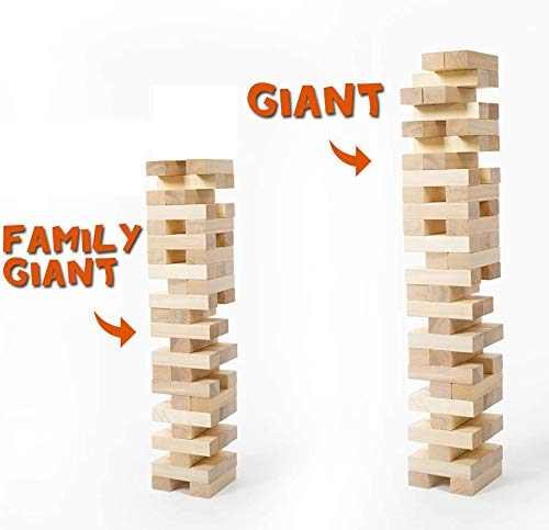 Giant Timber Tower (Stacks to 4 Feet) with Dice & Score Board, 56 Pcs Gentle Monster Large Size Wooden Stacking Game, Classic Outdoor Games for Adult Kids Family, Jumbo Blocks
