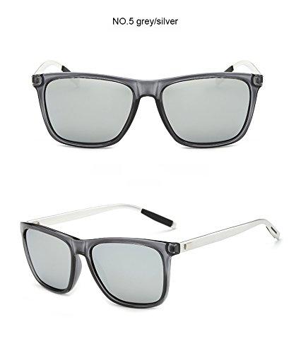 Clear de polarizadas hombre Clear Aprigy Gafas Gray de aluminio TR90 sol Gray para vnFxwg
