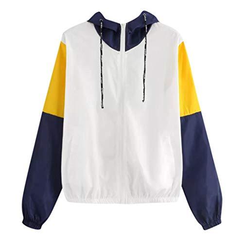 KFSO Women Long Sleeve Thin Skinsuits Hooded Zip Splicing Colour Pockets Sport Coat (M, Blue) -