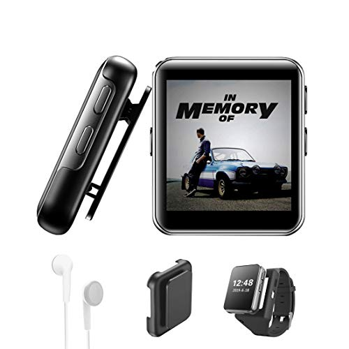 16GB Clip MP3 Player with Bluetooth, Sports Watch MP3 Player with Touch Screen, Mini MP3 Player with Headphones,Voice Recorder,E-Book,Video Play,HiFi Lossless Sound Music Player for Running, 1.5 Inch (Mp3 Used)