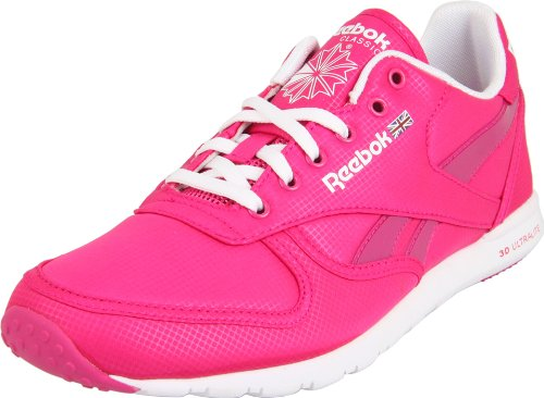 Reebok Women's Classic Leather Clean Ultralite Sneaker,Brilliant Pink/White/Excellent Red,8.5 M US