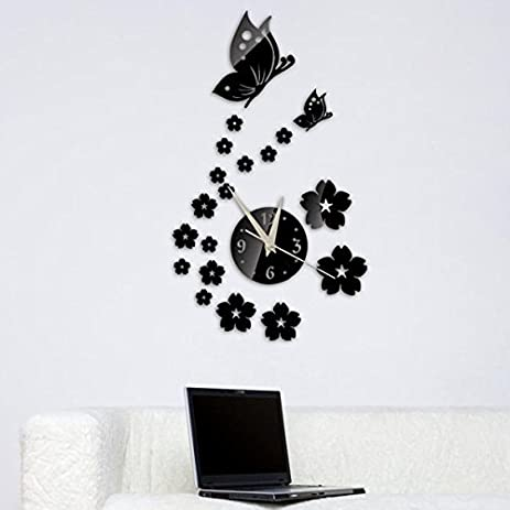 Amazoncom Buggy Creative wall sticker wall clock DIY mirror clocks