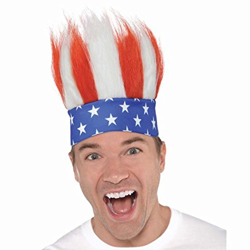 All -American Fourth of July Crazy Hair Headband Accessory, Fabric, Standard Size